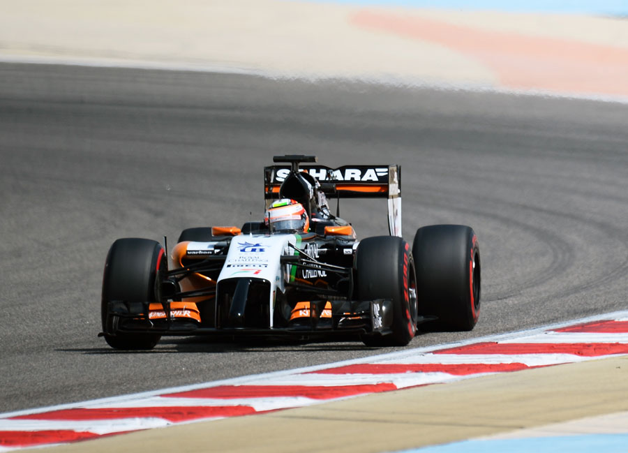Sergio Perez out on track in the Force India