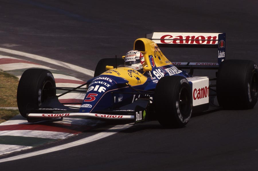 Nigel Mansell hits the apex