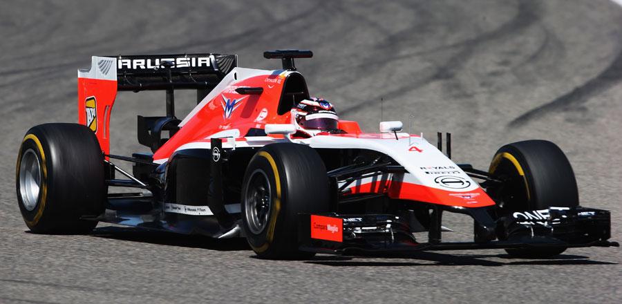 Max Chilton enters a corner in the Marussia
