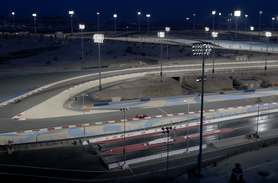 Lewis Hamilton and Sebastian Vettel sample Bahrain under the lights for the first time