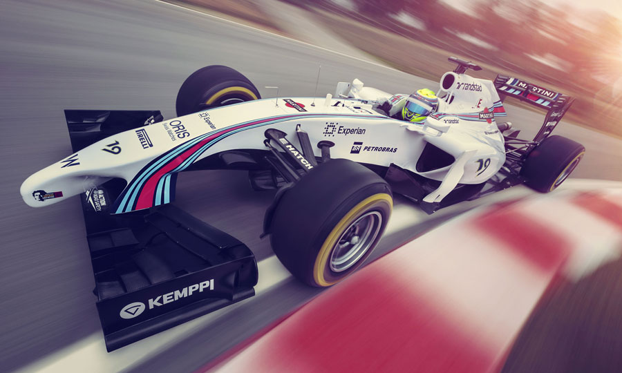 A close up of Williams' new Martini livery