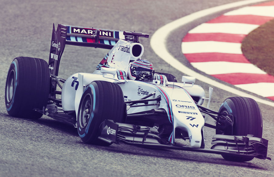 Valtteri Bottas behind the wheel of the Williams in a promotional shoot for its new livery