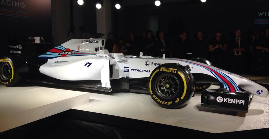 The new livery of the Williams FW36 at the official launch of the team's Martini sponsorship