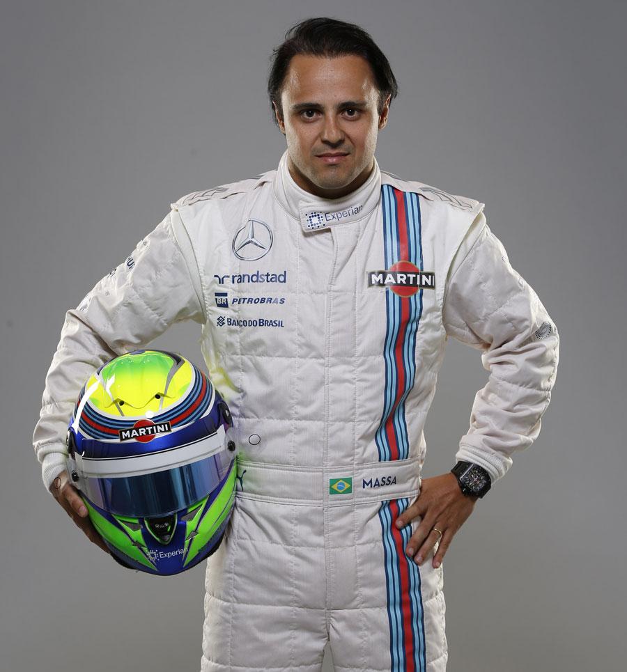 Felipe Massa poses in Williams' poses in Williams' new racing suit for 2014