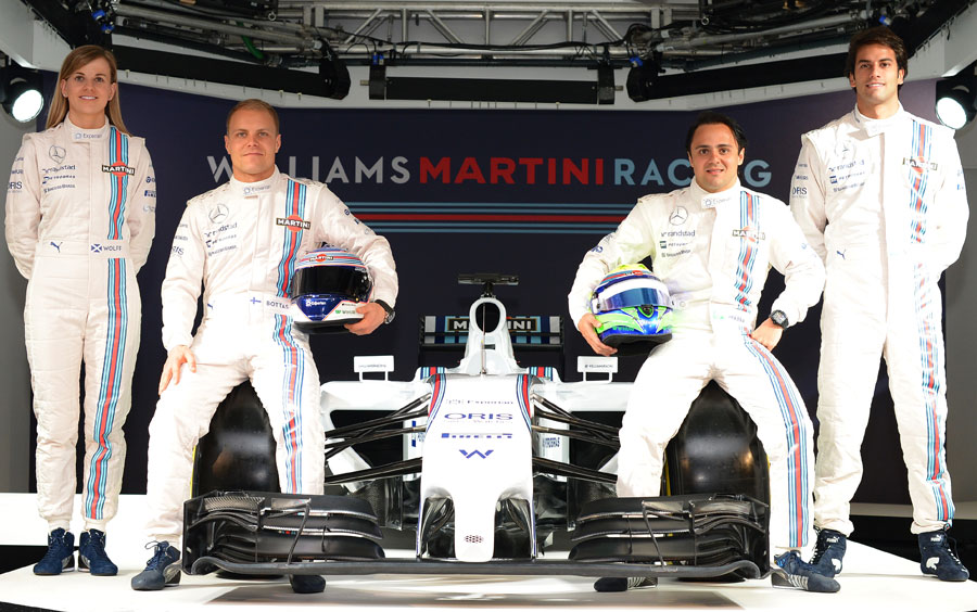 Susie Wolff, Valtteri Bottas, Felipe Massa and Felipe Nasr pose with the Williams FW36