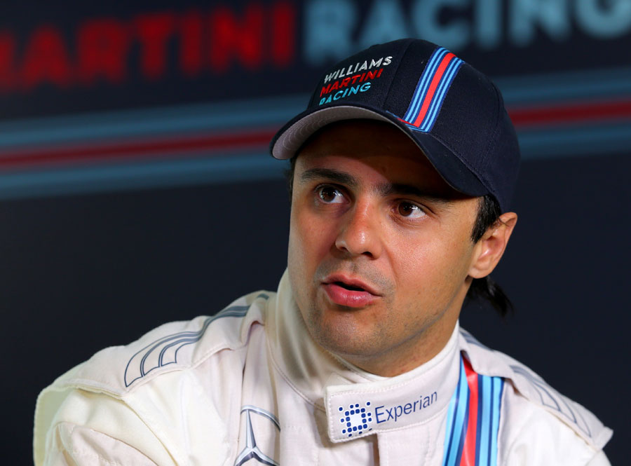 Felipe Massa speaks at the launch of Williams sponsorship deal with Martini