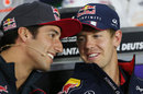Daniel Ricciardo and Sebastian Vettel share a joke