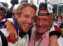 Jenson Button and his father John celebrate his maiden win