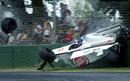Jacques Villeneuve bounces off the wall in the BAR