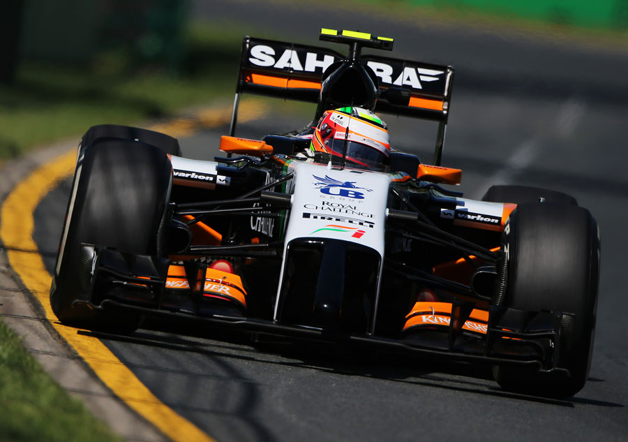 Sergio Perez approaches a turn in the Force India
