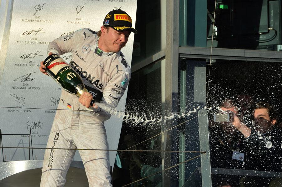 Nico Rosberg celebrates victory in the season opener