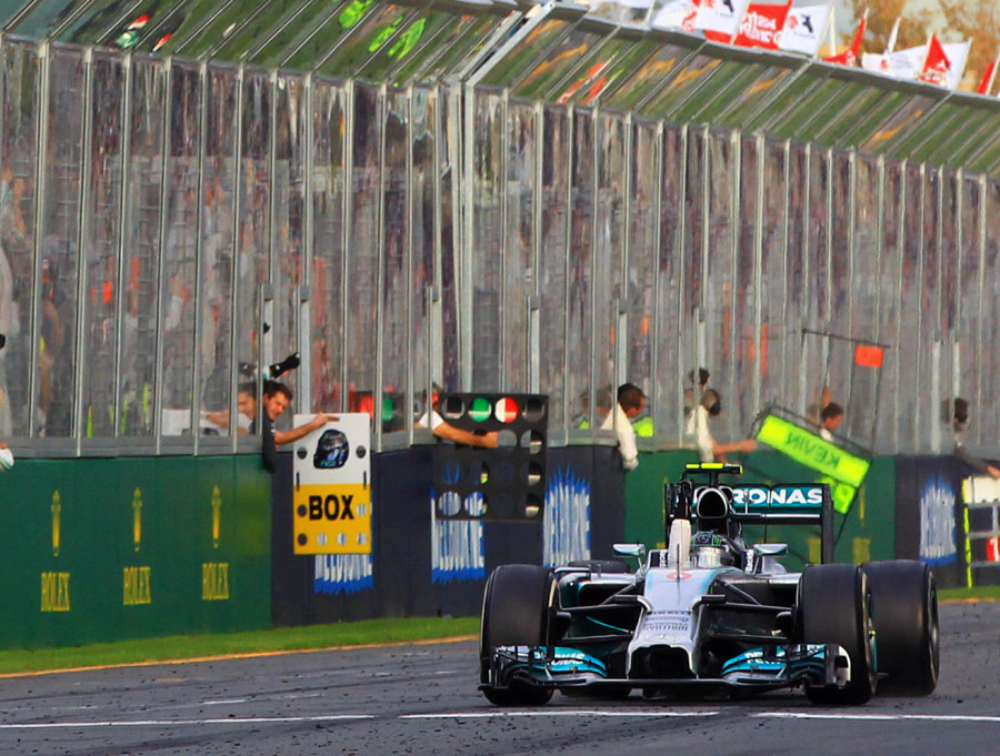 Nico Rosberg crosses the line for victory