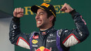 A delighted Daniel Ricciardo on the podium