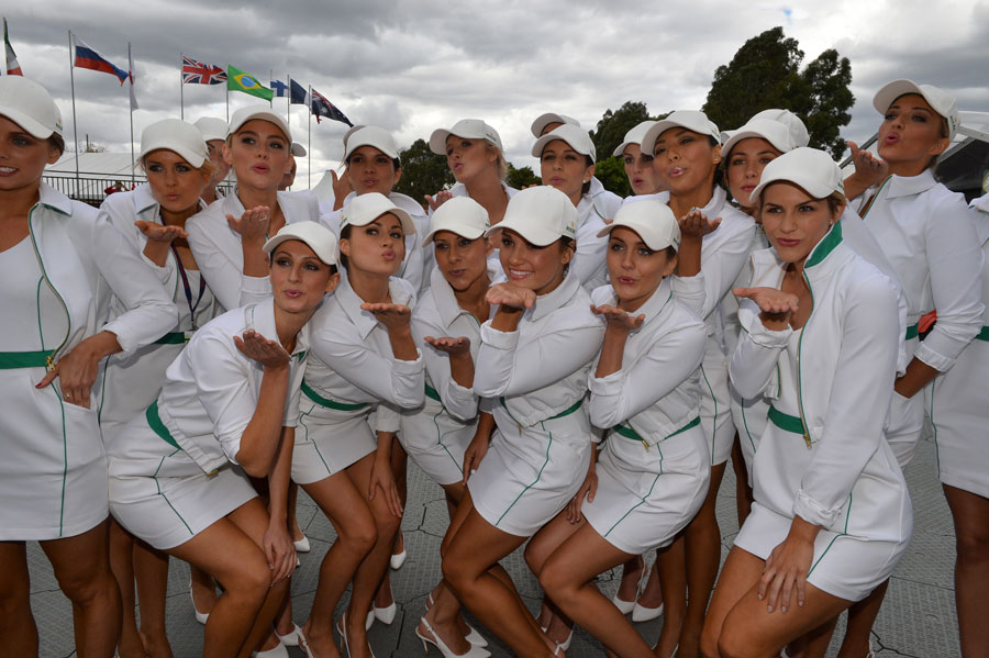 The grid girls pose for a photo in Albert Park