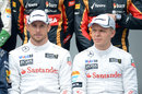 McLaren team-mates Jenson Button and Kevin Magnussen at the pre-season photo
