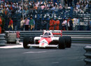 Alain Prost on track in the McLaren