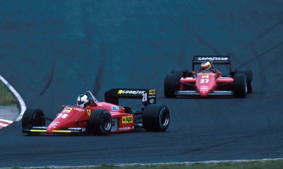 Michele Alboreto closes down on team-mate Stefan Johansson