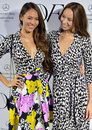 Jenson Button's fiance Jessica Michibata and her sister Angelica at a fashion launch in Tokyo