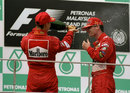 Michael Schumacher sprays Eddie Irvine after his victory