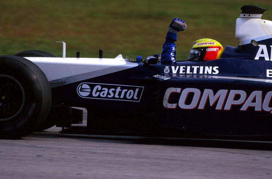 Ralf Schumacher celebrates his win