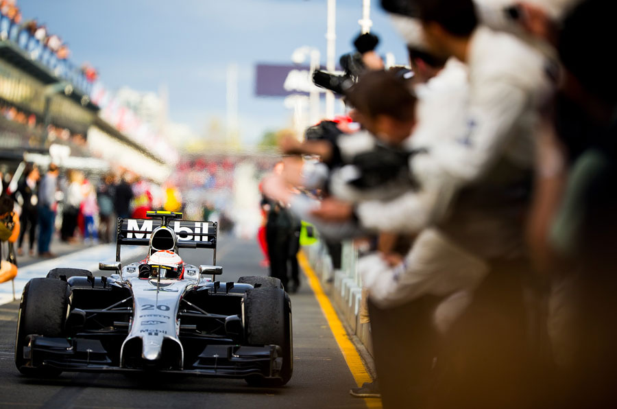 Kevin Magnussen celebrates his podium at Albert Park