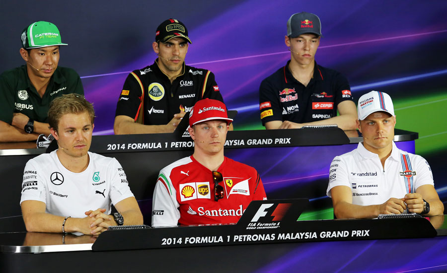 Drivers prepare for the press conference ahead of the weekend