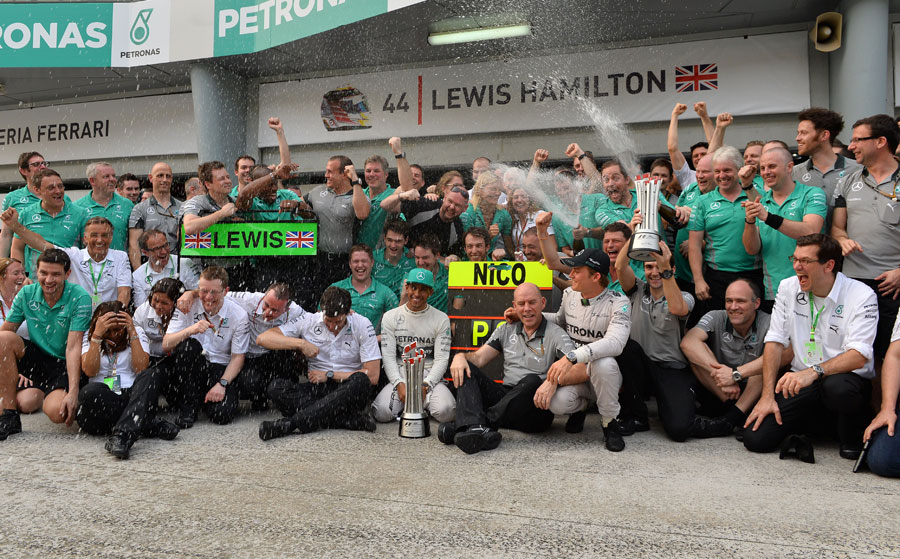 Mercedes celebrates its first one-two finish since 1955