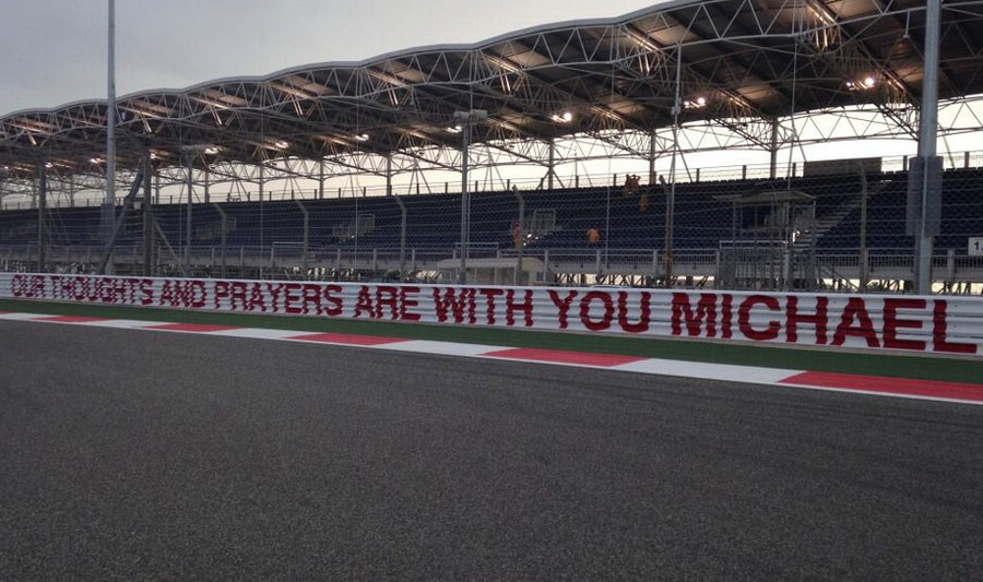 The Bahrain International Circuit with a message to Michael Schumacher