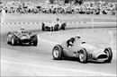 Juan Manuel Fangio stalks the Ferrari of Gonzalez and Lancia of Ascari