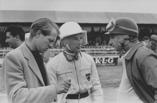 Peter Collins, Stirling Moss and Juan Manuel Fangio on the Silverstone grid