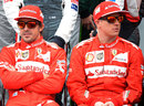 Fernando Alonso and Kimi Raikkonen pose for the pre-season photo
