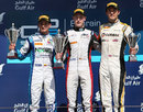 Stoffel Vandoorne celebrates victory on his GP2 debut with Julian Leal and Jolyon Plamer