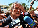 Ferrari president Luca di Montezemolo talks to media in the paddock
