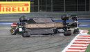 Esteban Gutierrez takes flight after contact from Pastor Maldonado