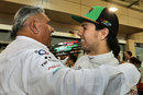 Vijay Mallya embraces Sergio Perez after claiming Force India's first podium since 2009
