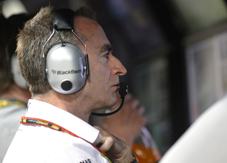 Mercedes' Paddy Lowe watches events unfold from the pit wall