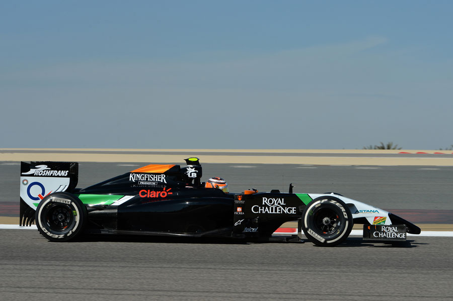 Nico Hulkenberg's Force India with blank sidepods