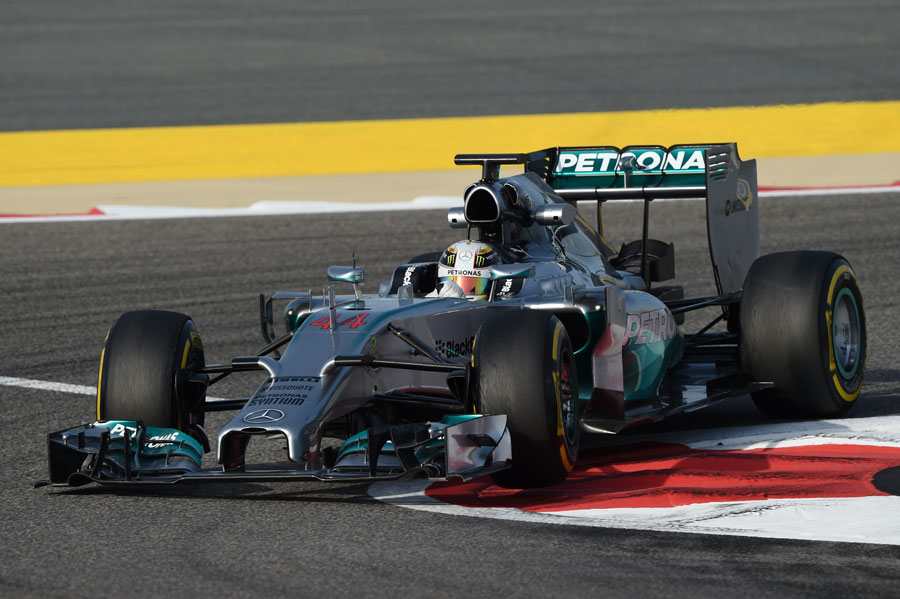 Lewis Hamilton rounds the apex during a run on the soft tyre