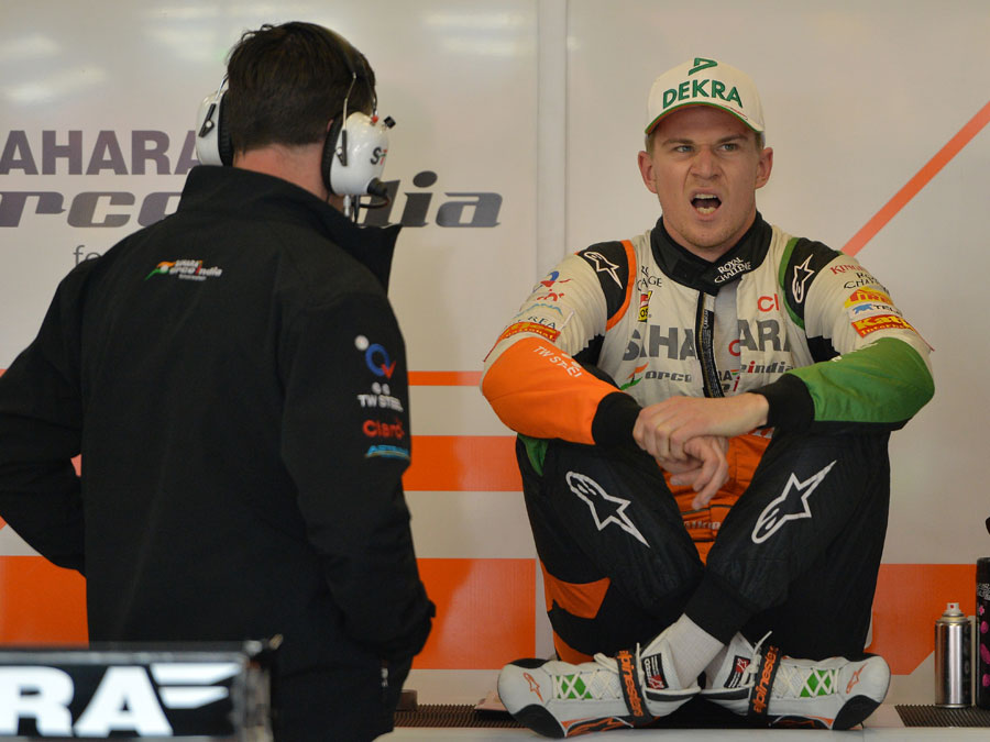 Nico Hulkenberg does not appear to be a fan of waiting for the rain to stop in qualifying