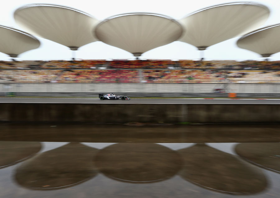 Adrian Sutil passes empty grandstands in the Sauber