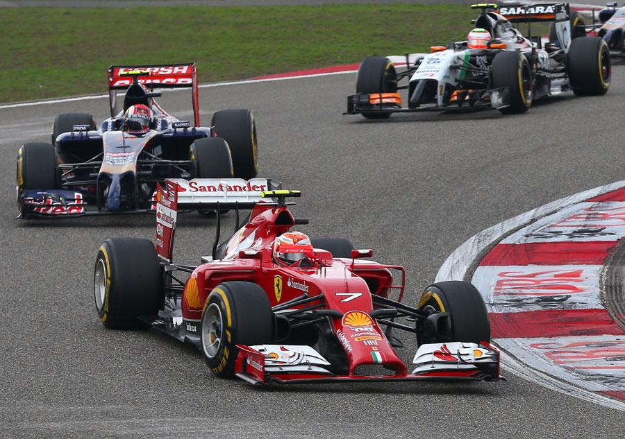 Kimi Raikkonen leads Daniil Kvyat and Nico Hulkenberg