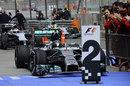 Nico Rosberg arrives in parc ferme in his Mercedes