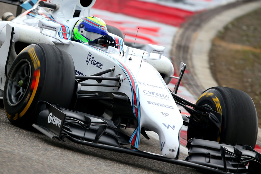 Felipe Massa on track before a botched pit stop ruined his race