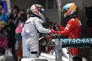 Fernando Alonso congratulates Lewis Hamilton