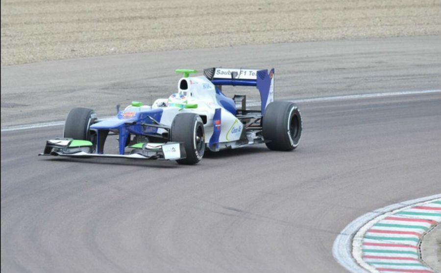Simona de Silvestro testing in a specially-painted 201 Sauber at Fiorano