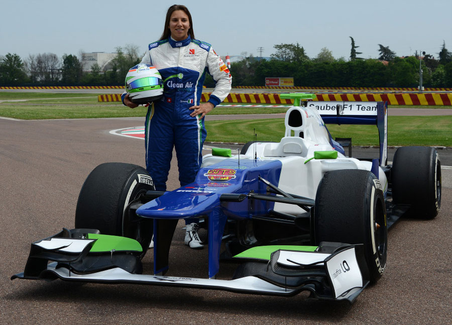 Simona de Silvestro poses for a photo during her test weekend with Sauber