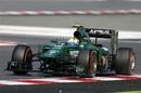 Caterham's Marcus Ericsson enters a corner