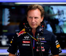 Christian Horner watches on in the paddock