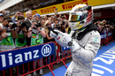 Lewis Hamilton celebrates his race victory