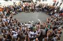 Mercedes celebrates Lewis Hamilton's victory